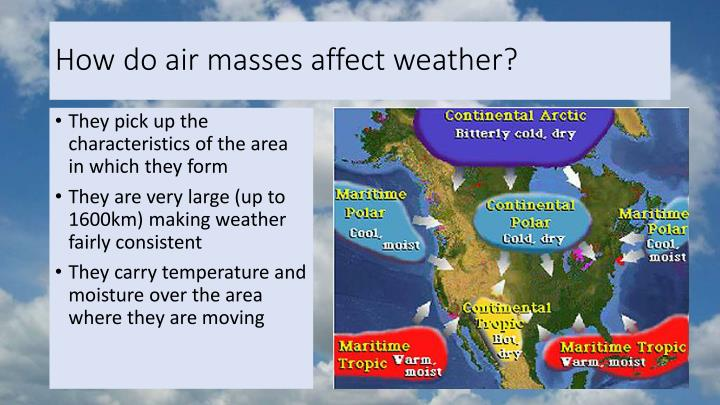 How do air masses affect weather?