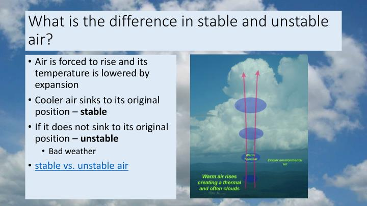 What is the difference in stable and unstable air?