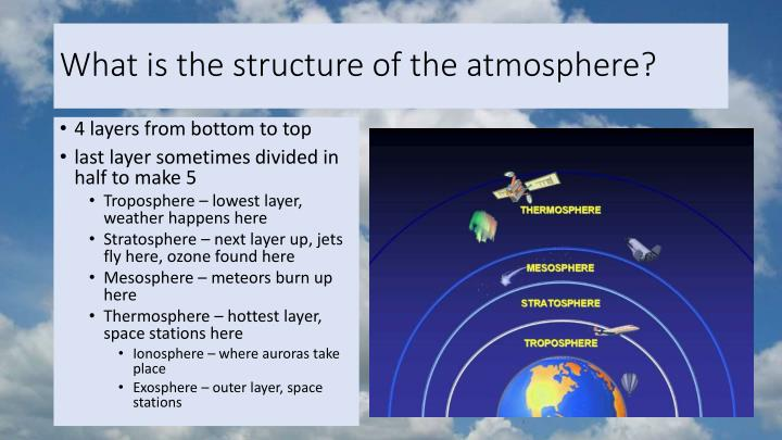 What is the structure of the atmosphere?