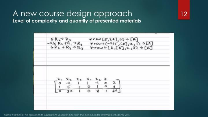 A new course design approach