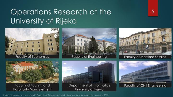 Operations Research at the University of Rijeka