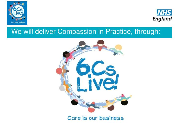 We will deliver Compassion in Practice, through: