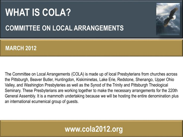 WHAT IS COLA?