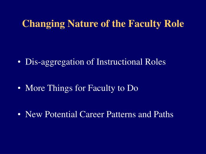 Changing Nature of the Faculty Role