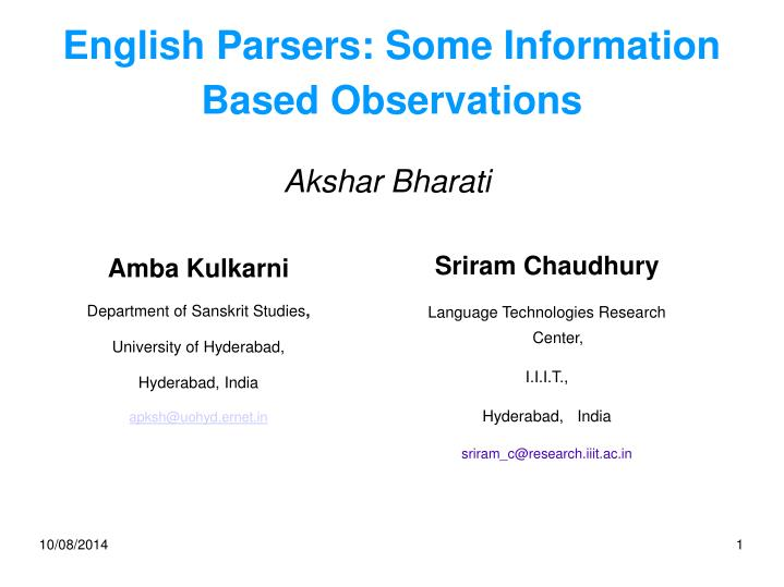 english parsers some information based observations n.