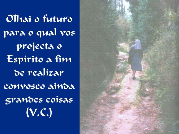 Olhai o futuro para o qual vos projecta o Espírito a fim de realizar convosco ainda grandes coisas (V.C.)