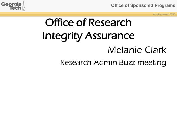 office of research integrity assurance n.