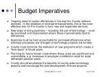 budget imperatives