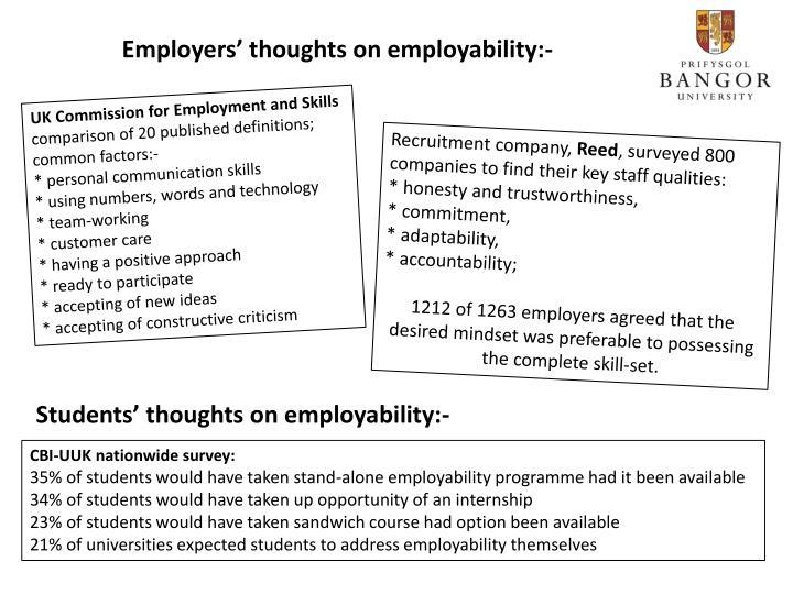 Employers' thoughts on employability:-