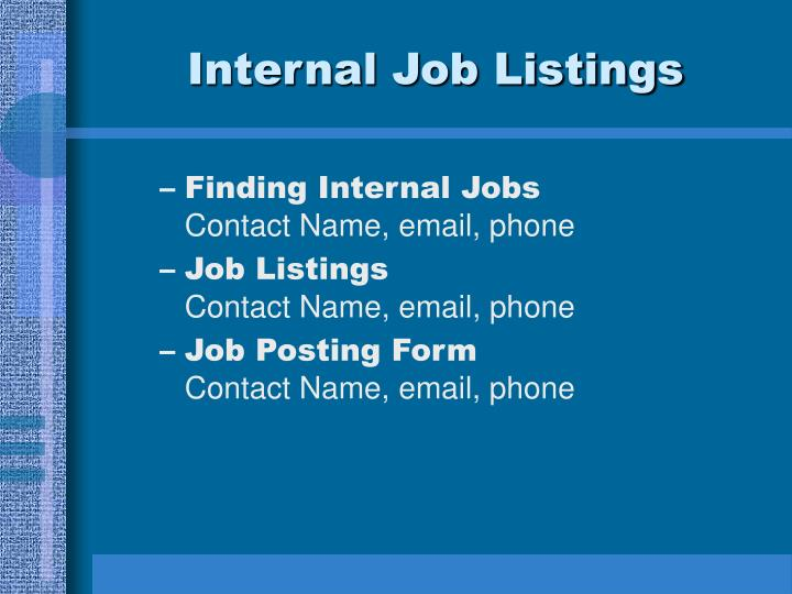 Internal Job Listings