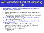 mission business critical computing ii
