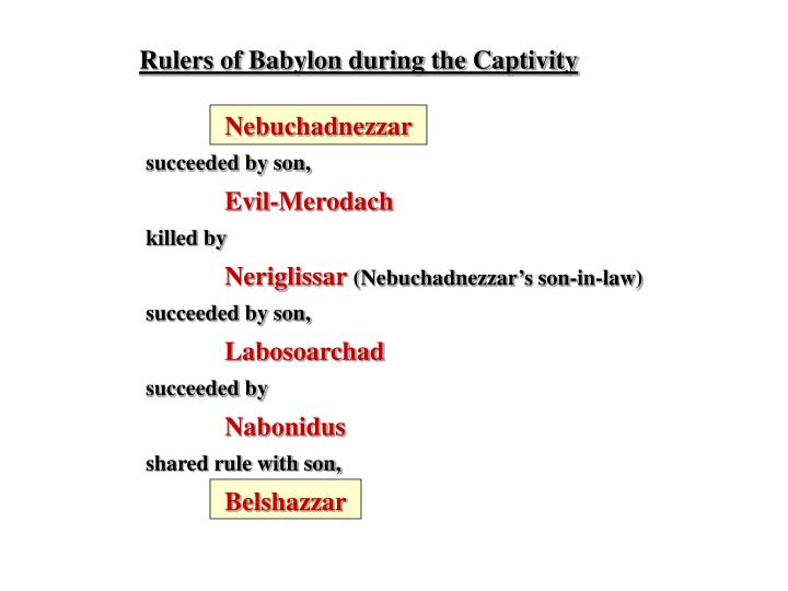 Rulers of Babylon during the Captivity
