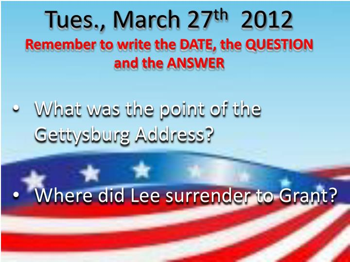 Tues., March 27