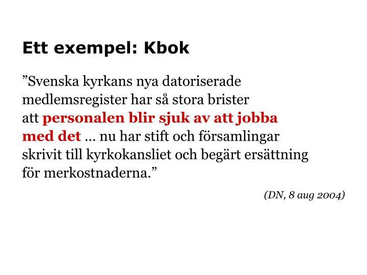 Ett exempel: Kbok