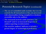 potential research topics continued