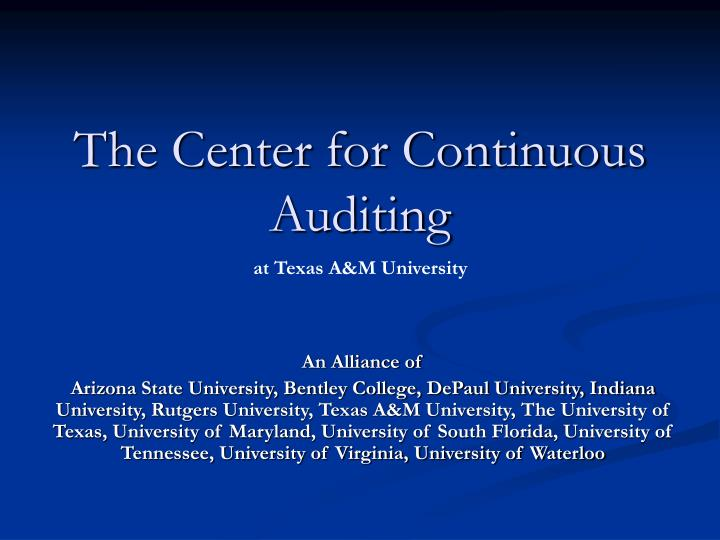 the center for continuous auditing n.