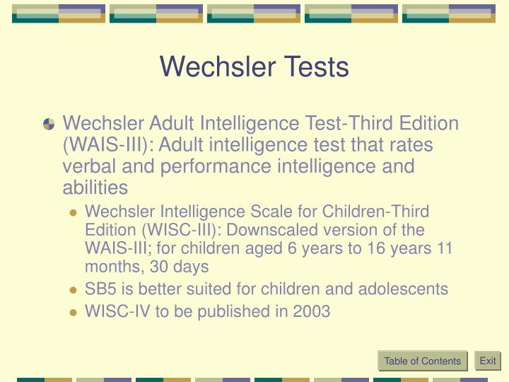 Wechsler Tests