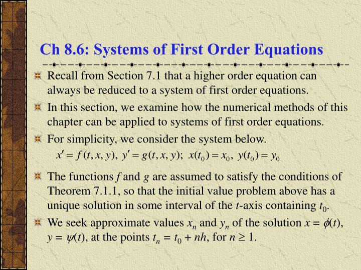 ch 8 6 systems of first order equations