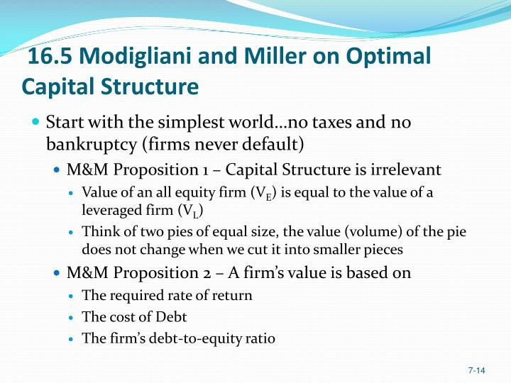 16.5 Modigliani and Miller on Optimal Capital Structure