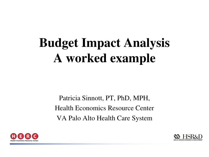 budget impact analysis a worked example n.
