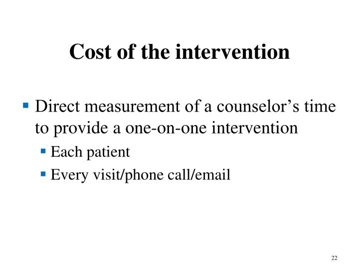 Cost of the intervention