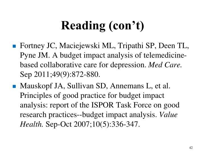 Reading (con't)