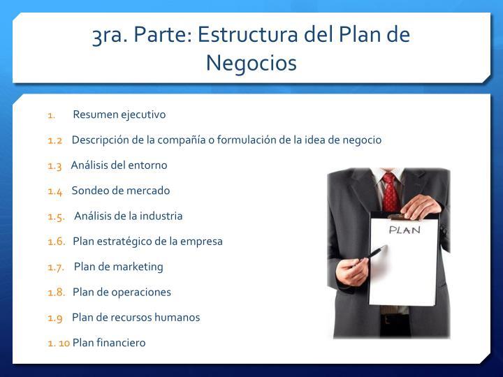 3ra. Parte: Estructura del Plan de Negocios
