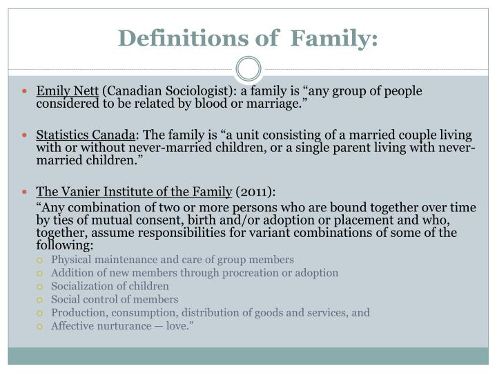 Definitions of family