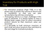 inventory for products with high tvr