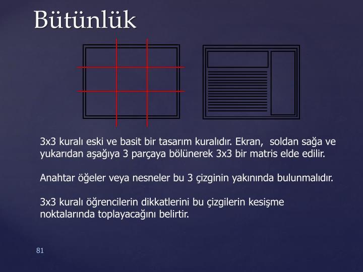 3x3 kuralı eski ve basit bir tasarım kuralıdır. Ekran,  soldan sağa ve yukarıdan aşağıya 3 parçaya bölünerek 3x3 bir matris elde edilir.
