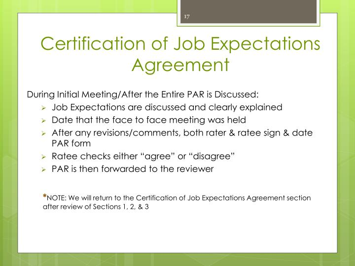 Certification of Job Expectations Agreement
