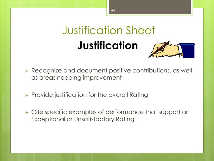 Justification Sheet