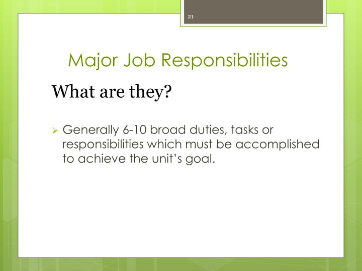 Major Job Responsibilities
