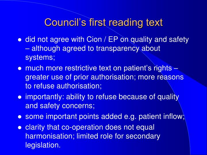 Council's first reading text