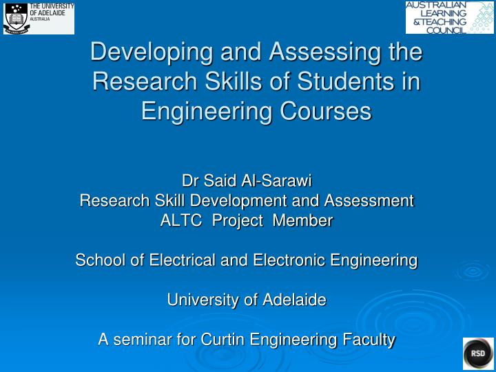 developing and assessing the research skills of students in engineering courses n.