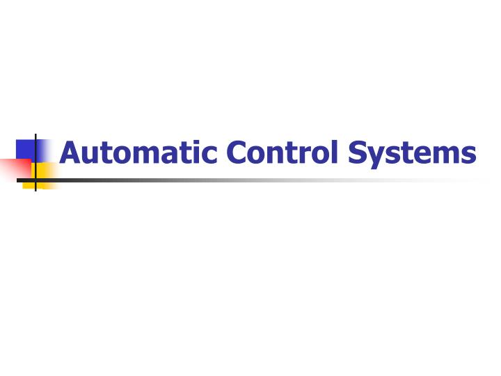 automatic control systems n.