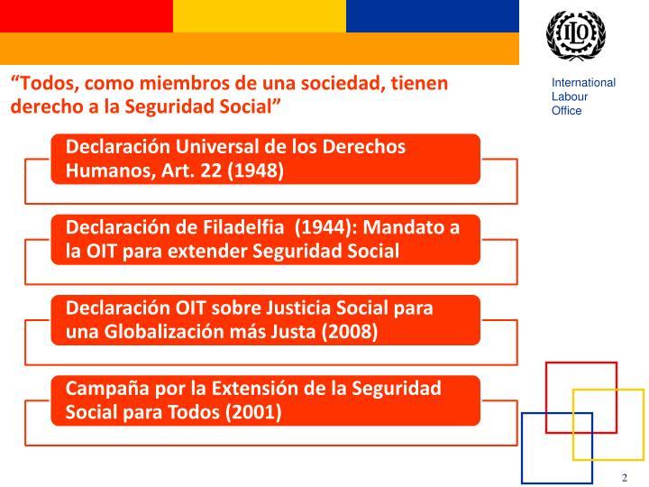 Todos como miembros de una sociedad tienen derecho a la seguridad social