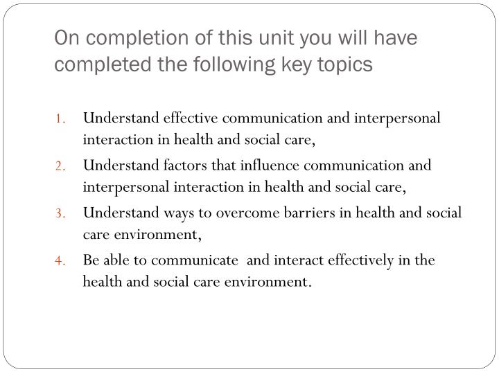 environmental factors that influence communication in health and social care