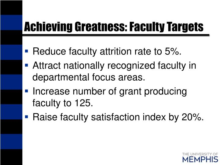 Achieving Greatness: Faculty Targets