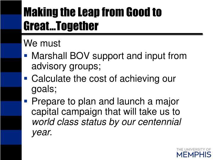 Making the Leap from Good to Great…Together