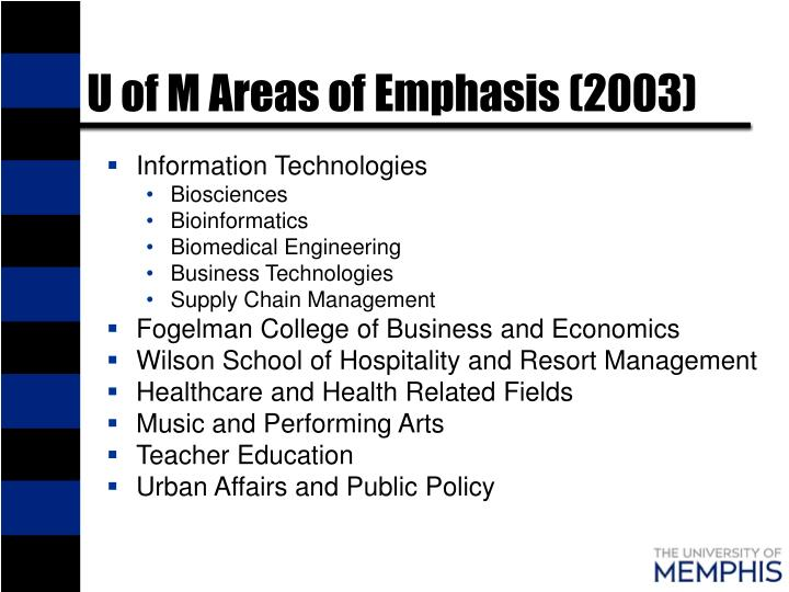 U of M Areas of Emphasis (2003)
