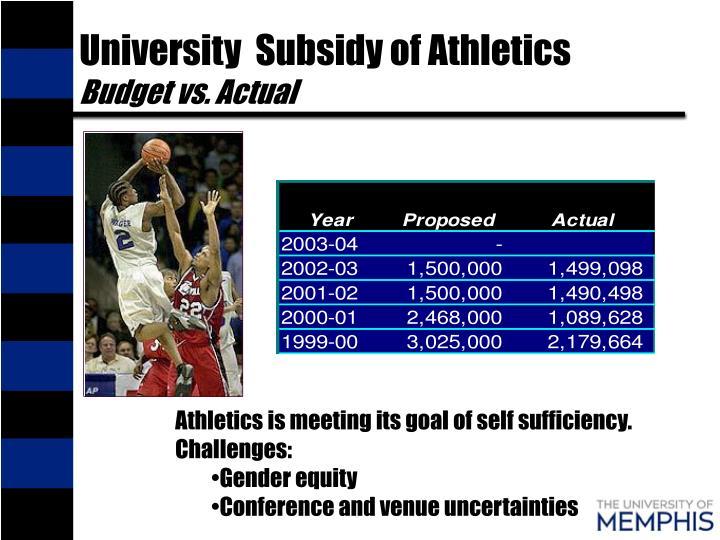 University  Subsidy of Athletics