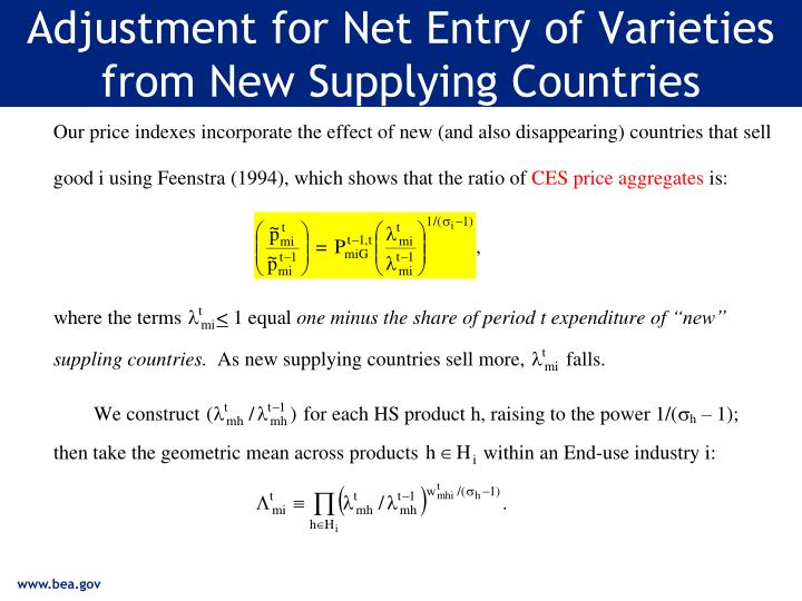 Adjustment for Net Entry of Varieties from New Supplying Countries