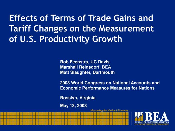 Effects of terms of trade gains and tariff changes on the measurement of u s productivity growth