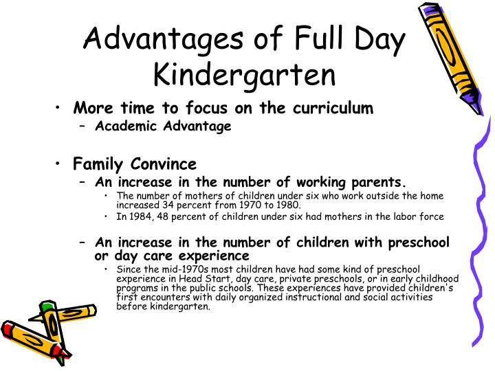 kindergarten full day versus half day Your child's kindergarten could have him home for lunch, or late in the afternoon get the scoop on full day vs half day kindergarten programs.