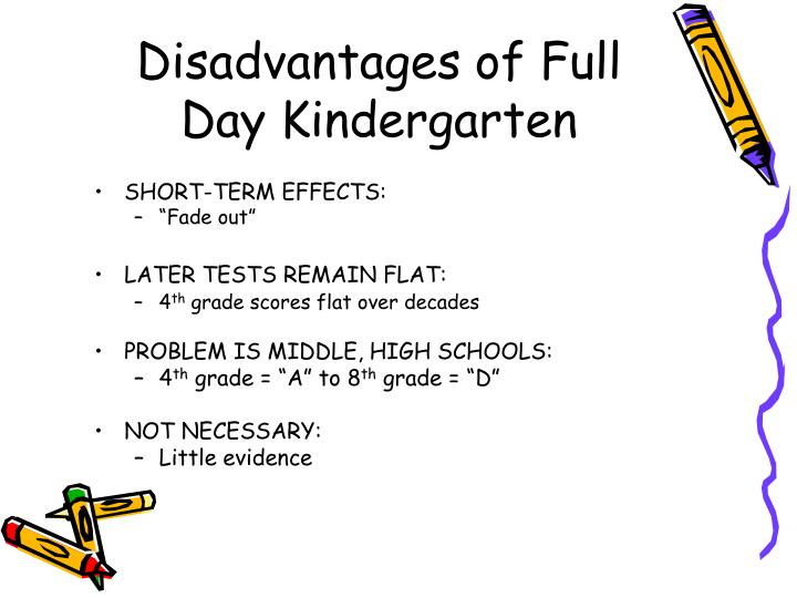 full day vs half day kindergarten essay The full-day kindergarten is normally between five and six hours in length, while half-day kindergarten typically comprises approximately three hours.