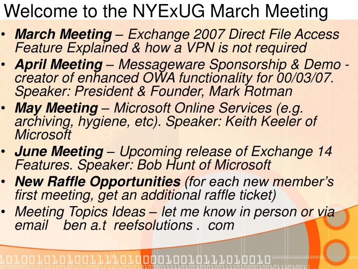 Welcome to the nyexug march meeting