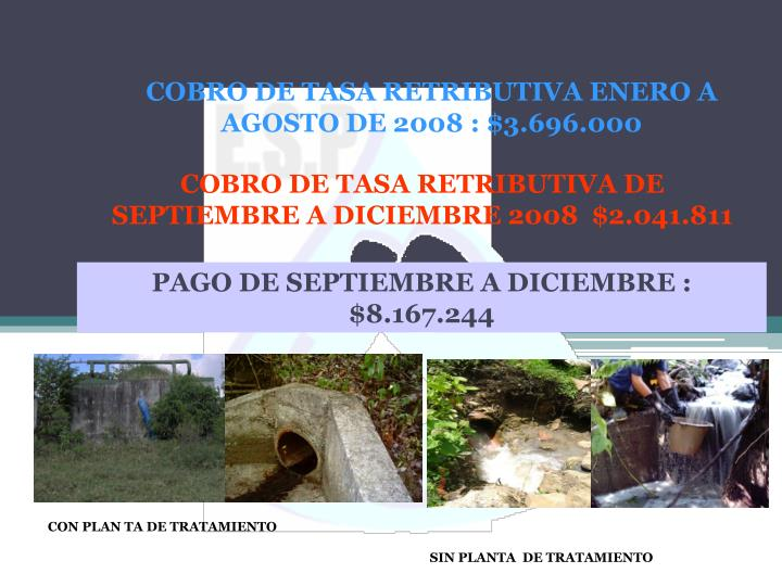 COBRO DE TASA RETRIBUTIVA ENERO A AGOSTO DE 2008 : $3.696.000