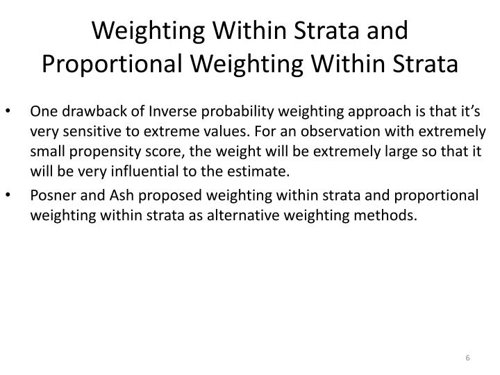 Weighting Within Strata and Proportional Weighting Within Strata