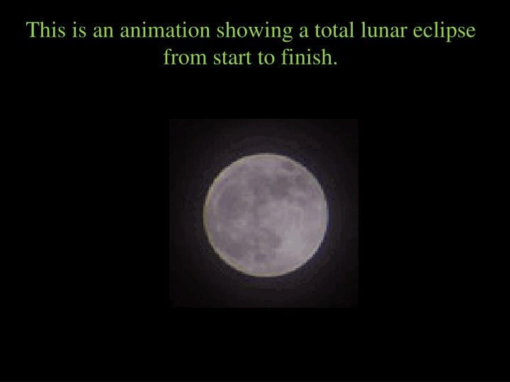 This is an animation showing a total lunar eclipse from start to finish.